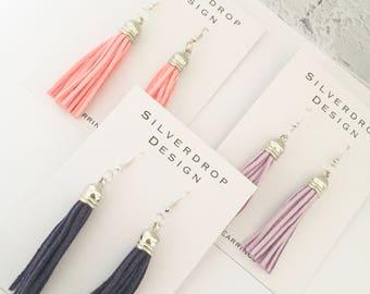 Purple, Lilac and Peach Suede Silver Tassel Dangle Drop Earrings
