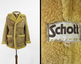 Vintage Schott Shearling Coat 1970s Men's Brown Sheepskin Mountain Man Leather - Size 40