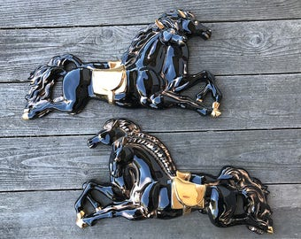 Ceramic Horse Wall Art Large Black and Gold Stallions Equestrian Wall Hangings Horse Lover Gift SET OF 2