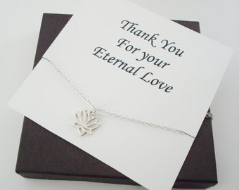 Lotus Charm Sterling Silver Necklace ~~Personalized Jewelry Gift Card for Bridal Party, Mom, Best Friend, Sister, Wife, Step Mom, Cousin