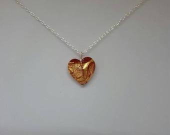 Yellow/Gold Murano Glass Heart Pendant