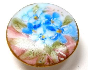 """des années 1900 antique porcelaine bouton, tige Edwardian Chine avec peint à la main fleurs 7/8""""."""