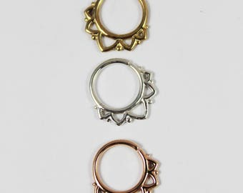 PRINCESS, Silver Septum Ring, Gold Septum Ring, 16 gauge, 1.2mm