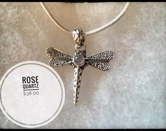 Rose Quartz Dragonfly Gemstone Necklace in Sterling Silver
