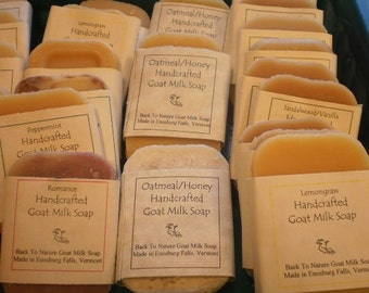10 Trial Size Goat Milk Soaps/goat's milk soap bed and bath size/Assorted scents