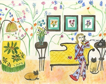 There was nothing Betty liked better than being the bearer of bad news.  Limited edition print by Vivienne Strauss.