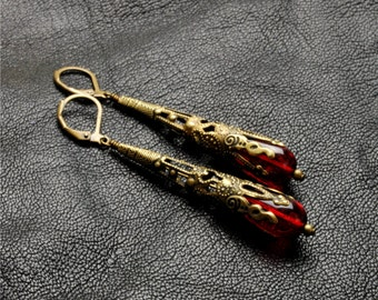 Gothic Earrings Gothic Jewelry Crimson Red Earrings Filigree Dangle Earrings Brass Steampunk Jewelry By Victorian Curiosities