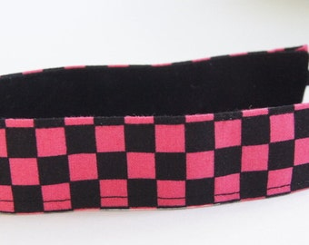 Multi Color Black and Pink Print Fabric Headband, Non Slip Headband, Geometric Pattern (Non Slip Velvet Lining)