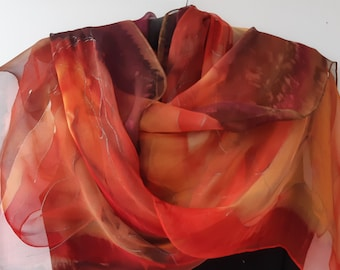 Chiffon Scarf for Ladies in colors of Earth and Fire. Hand Painted in Scarlet, Orange, Plum. Elegant Luxury Chiffon Scarf  18x71 inch Scarf
