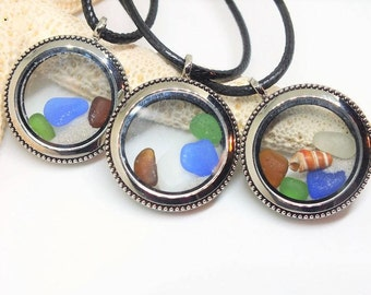 Sea Glass Pendant - Sea Glass Locket - Lake Erie Beach Glass Jewelry -  Cleveland Beach -  Fillable Pendant - FREE Shipping inside the US