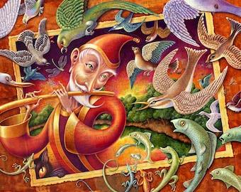 Children's forest art print 7x10, Magic Flute, Man playing flute, cat, birds, lizards, fish, Fantasy woodland nursery, Magical music art
