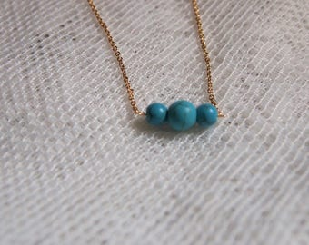 3 Bead Turquoise Necklace