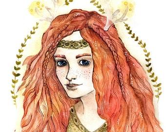 Fairy Fantasy Print Art Fairy Watercolor Print Fantasy Boho Print Wall Fairy Decor Boho Print Painting Fantasy