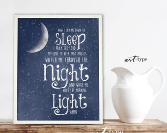 Childs Prayer Print, Now I Lay Me Down to Sleep INSTANT DOWNLOAD 8x10 DIY Printable Childrens Art Christening Baptism Nursery, Stars Moon