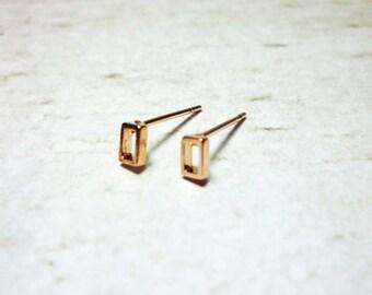Tiny Open Rectangle Stud Earrings, Dainty Earrings