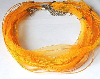 1 light orange organza necklace with lobster clasp 47cm