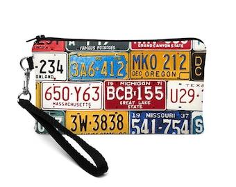 Women's Phone Wallet, Car Wristlet, iPhone 8 Plus Wristlet, Galaxy S8 Clutch Wallet, OOAK Large Smartphone Purse - colorful license plates