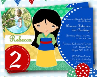 Mulan Birthday Invitations, Mulan Invites, Mulan Invitations, Warrior Princess Birthday Invitations, Digital Invitations, Mulan Party - P511
