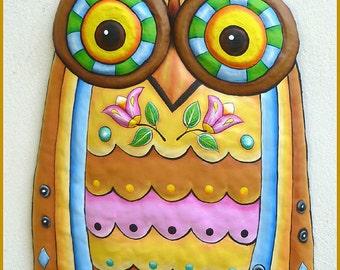 Painted Metal Owl Wall Hanging, Metal Wall Decor, Metal Art, Owl Art, Garden Art, Owl, Metal Wall Art, Owl Wall Art, Owl Decor, J-351-GL