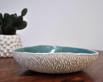 Extra Large Geode  Porcelain Bowl - Large Ceramic Bowl, Blue Ceramic Bowl, Fruit Bowl, Handmade Pottery Bowl, Ceramic Serving Platter