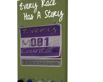 Running medal holder and race bib display for all races - 5k - 10k - half and full marathon - Every race has a story!