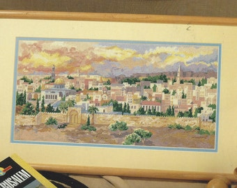 "1990s ""Jerusalem at Dusk"" Bucilla Counted Needlepoint Kit 4717 Original Artwork by Erin Dertner Vintage Judaicia Needlepoint Kit"