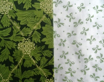 set of 2 cut of cotton fabric 40x50mm foliage / knots