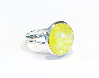yellow opal ring, yellow ring for women, lemon yellow, adjustable rings for women, silver adjustable ring, size 6 ring, fashion rings