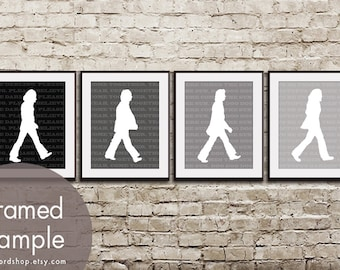 Abbey Road - Beatles Inspired Set of 4 - Art Prints (Featured in Shades of Black) Vintage Modern Art Prints
