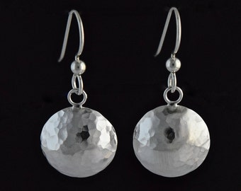 Sterling Silver 15mm Hammered Domed Disc Earrings