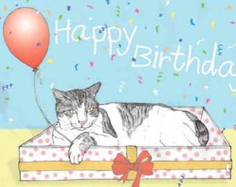 Cats 'Happy Birthday' Postcard featuring Spageti, the famous Israeli cat from Ha'aretz Newspaper Comics
