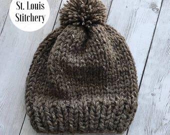READY TO SHIP - Women's Chunky Knit  Beanie with Pom Barley Fleck