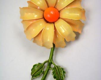 Pretty Yellow Vintage Enamel Flower Brooch