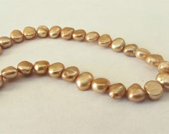 6 - 7mm Full Strand Champagne Potato Nugget Pearl Beads, Genuine Freshwater Pearl Beads, Champagne Nugget Cultured Pearl Beads (PNCP-016)