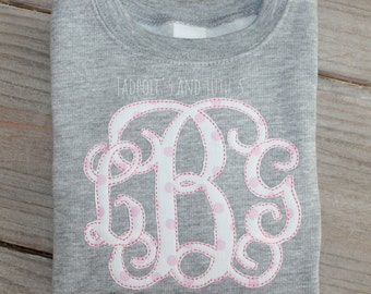 Polka Dot Monogram Sweatshirt, Personalized Applique Initial Fleece Sweatshirt, Monogram Sweatshirt, Applique Sweatshirt