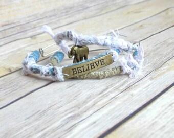 Inspirational Bangle Bracelets / Elephant Charm / Denim Bracelets / Boho Charm Bracelet / Bohemian Jewelry / Fabric Bangles / Pink Bangles