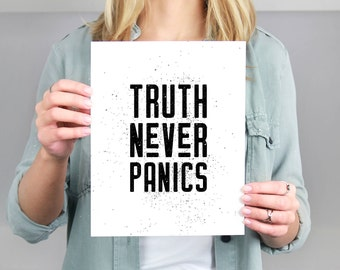 Truth Never Panics Lawyer Gift Printable | Inspiration Quotes | Digital Download | Justice Office Wall Art |