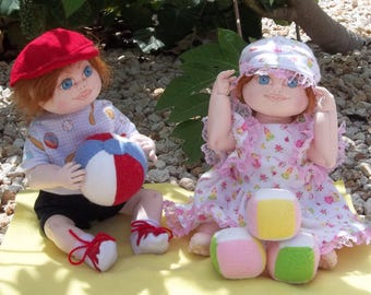 """KB102E – Megan and Max, 16"""" Toddlers Cloth Doll Pattern"""