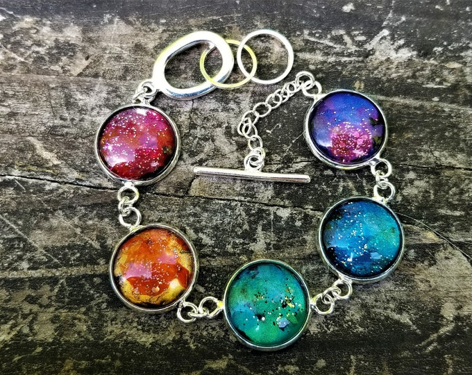 LIMITED EDITION: Nessa's Rainbow Nebula Painted Glass Bracelet (Version 3)