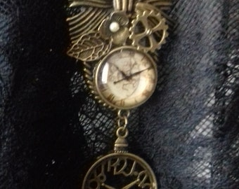 Romantic fake watch with bow, steampunk