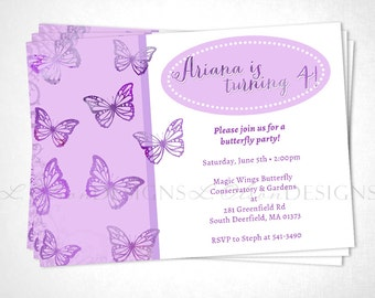 Butterfly Party Birthday or Event Invite - Purple - DIY Printable