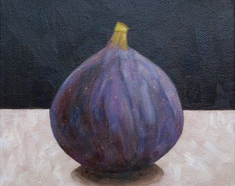 Fig Painting, Fig Still Life Painting, Fruit Still Life, 6x6 Inches Canvas, Small Fruit Painting, Original Painting, Small Kitchen Art