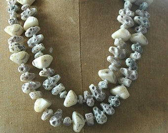 Vintage Necklace with Faux Pebbles - From Western Germany -   Think  Wilma Flintstone Couture!