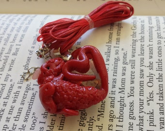 Red Dragon Hugging a Large Red Heart Swarovski Crystal Pendant Necklace - Hand Sculpted, OOAK