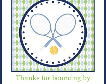 Blue, Green, and Navy Argyle Tennis Cupcake Toppers or Favor Tags