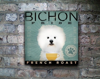 BICHON FRISE french roast Coffee Company original graphic art on gallery wrapped canvas by stephen fowler