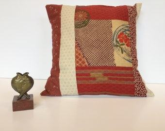 Cushion cover in patchwork of traditional Japanese fabrics warm copper colors Dim: 40 x 40 cm (15 'x 15')