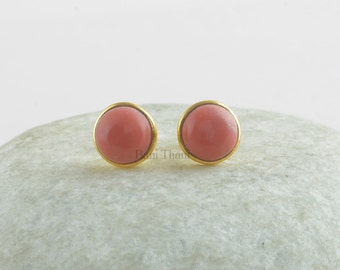 Pink Opal Round 9mm Vermeil Sterling Silver Stud, Handmade 925 Sterling Silver Stud Earrings Jewelry- E7003