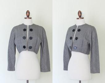 vintage 1950s houndstooth bolero jacket / 50s Valerie De Galan black and white print cropped jacket / S