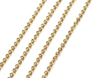 "35"" GOLD LINK 2.5mm Necklace Chain with Lobster claw clasp (CH100)"